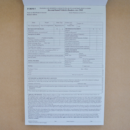 S21 - Form 5 - Contract for sale (Second-hand Vehicle)
