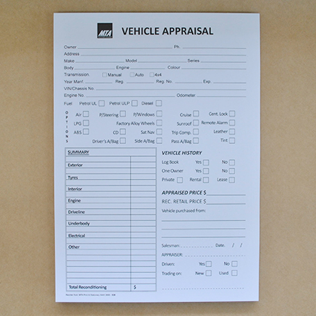 S28 - Used Vehicle Appraisal Pad
